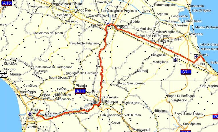 285 km første dagen