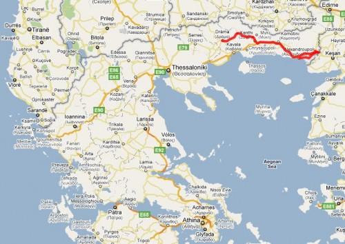 Kart over hellas og tyrkia