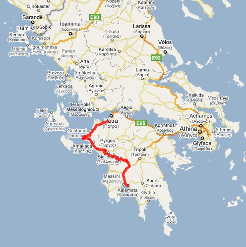 304 km på Peloponnes; klikk på kartet for detaljer